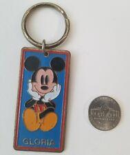 "Vintage Disney Mickey Mouse Brass Keychain ""Gloria"" Disneyland Souvenir"