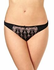 Panache Evie Liaison Embroidered Thong Panty 6399 - Black/Pink, 12/M