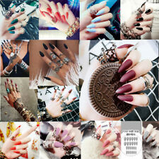 24Pcs Acrylic Full Cover Fake Nail Finger Tips Long False Nails Art With Glue