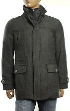 $199 New Mens Tasso Elba Wool Blend Car Coat w/ Bib Trim L