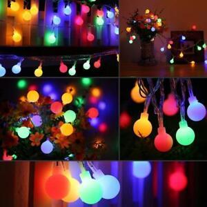 30/50/100 LED Fairy String Festoon Ball Bulb Light Outdoor Wedding Garden Party
