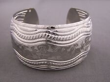 """Silver tone cuff bracelet metal bangle 1.5"""" wide textured stamped floral pattern"""