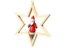 Baumbehang, Fensterschmuck-Weihnachtsmann stehend-Gläßer Seiffen - Erzgebirge