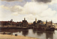Beautiful Oil painting Johannes Vermeer - View of Delft Nice landscape by river