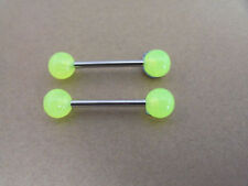 2 x 22MM LONG BARS, 1.6MM THICKNESS, GLOW IN THE DARK,NIPPLE,TONGUE, 6MM NEON