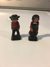 vintage Painted Cast Iron Amish Couple Man & Woman Figures Figurines