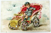 Old Embossed Postcard TO MY VALENTINE, Old Auto Lined With Flowers