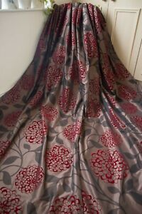 NEXT BROWN RED VELVET FLOCK FLORAL EYELET CURTAINS,66WX72D,TAFFETA,SHIMMERY,LINE