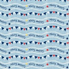 Fabric Nautical Ahoy Matey Flags & Waves on Blue Cotton by the 1/4 yard BIN