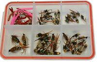57 ct Nymph Fly Assortment w/ Case - Prince, Copper, Hares, Pheasant, San Juan