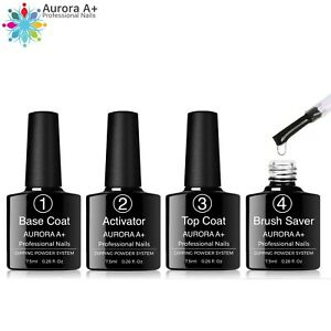 4pcs Dipping Nail Powder Liquid BASE + TOP COAT + ACTIVATOR + BRUSH SAVER Dip UK