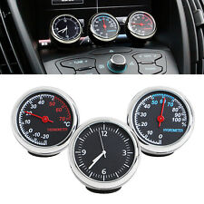 3Pcs Car 4cm Quartz Hygrometer Time Clock Temperature Thermometer Moisture Meter