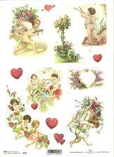 Carta di riso per decoupage scrapbooking, Angelo AMOR Cupido Cuore Love a4 ITD r291