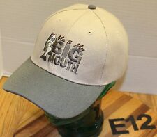 """NWOT """"ME AND MY BIG MOUTH"""" BASS FISHING HAT BEIGE/BLUE STRAPBACK ADJUSTABLE E12"""