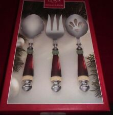 """LENOX HOLIDAY 3 PIECE SERVING SET NEW IN BOX  9.5"""" 2 SPOONS AND 1 FORK"""