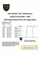 JACK WHITEHOUSE DERBY COUNTY 1923-1928 EXTREMELY RARE ORIGINAL SIGNED CUTTING