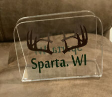 New listing Clear Napkin Holder - Sparta Wisconsin With Antlers - Nice !