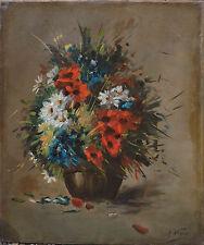Tableau HST Bouquet de fleurs des champs XIX° - signé A. Vigo