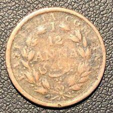aVF Colonial India Victoria 1835 1/12 Anna  Coin!
