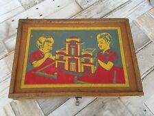 ancienne boite jeu de construction bois xix charnière cuir