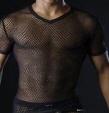 Sexy Black See Through Fishnet T-Shirt Short Sleeves Gay Stag