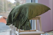 Pillow case color Green Khaki 100% Linen RUFFLE PILLOW SHAM Cover Queen King