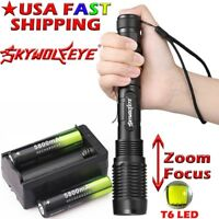 Zoomable Flashlight 50000LM Tactical 5-Mode T6LED Torch 18650 Light Lamp+Charger