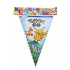 POKEMON PIKACHU BANNER BUNTING 10 FLAG PENNANT BIRTHDAY PARTY LOLLY LOOT BAG