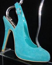 Steve Madden 'Melas' teal suede round toe buckle slingback platform heel 8M