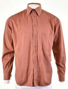 ROCCOBAROCCO Mens Shirt Size 42 16 1/2 Large Brown Cotton  KP30