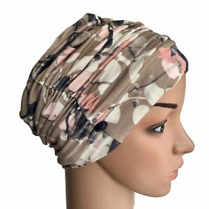 HEADWEAR FOR HAIR LOSS,STYLISH RUCH TAUPE PINK FLORAL HAT CANCER CHEMO,ALOPECIA
