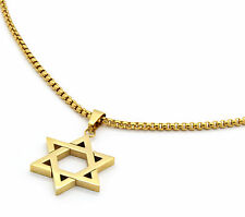 "Stainless Steel Gold Plated Star Of David Pendant 24"" Round Box Necklace Chain"
