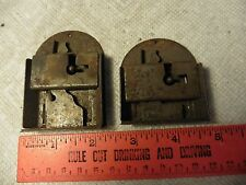 2 Vintage door lock dead bolt latches rounded antique hardware skeleton key hole
