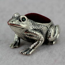 Novelty Sterling Silver Frog Pin Cushion With Natural Emerald Eyes