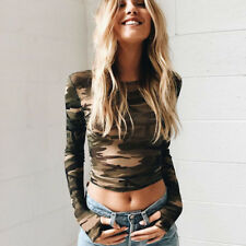 Cool T-shirt Tank Tops Casual Spring Slim Sexy Camouflage Fashion 1 Pc Blouse