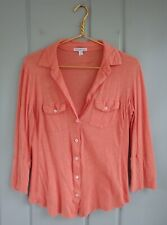 Standard James Perse Size 3 Womens Large Coral Button V Neck Shirt Top Fitted