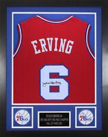 Julius Erving Autographed & Framed Red 76ers Jersey JSA COA D1-S
