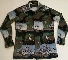 CHEMISE ET CIE Men's Vintage 70's Disco Shirt Woodlands Geese Nature Sz Medium
