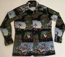 CHEMISE ET CIE Men's Vintage 70's Disco Shirt Woodlands Geese Nature Sz Medium