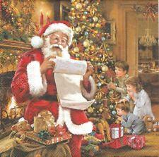 Lot de 2 Serviettes en papier Père Noël Liste Decoupage Collage Decopatch