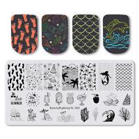 BeautyBigBang Nail Stamping Plates Footprints Fish Art Stamp Template Stencils