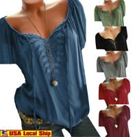 Women Fashion V Neck Lace Splice Casual T-shirt Ladies Summer Loose Blouse Top