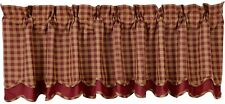 "Handkerchief Style Window Valance Tan Checks over Solid Burgundy Red 72"" W"