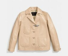 NWT Coach Sand Tan Camel Patent Leather 85892 Fireman Jacket Med $1595