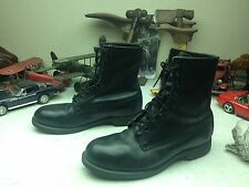 1990 STEEL TOE ADDISON BLACK LEATHER LACE UP MILITARY MOTORCYCLE BOSS BOOTS 10W