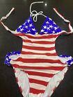 Venus Striking Patriotic Stars Stripes One Pce Swim Suit Bikini Embellished 12