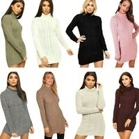 Ladies Chunky Cable Knitted Jumper Women's Winter Polo Neck Long Sleeve Dress