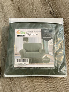 Easy Going 2-piece Stretch Chair Slipcovers Grayish Green Stretchy Soft New