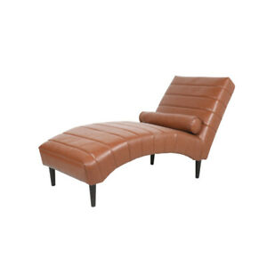 Faux Leather Armless Chaise Sofa Bed Lounge Channel Stitching With Lumbar Pillow
