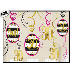 30th Birthday Swirl Decoration ~ Pink and Gold Thirtieth Birthday Party Supplies